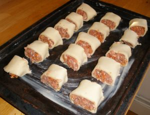 Chorizo Sausage Rolls ready for the oven!